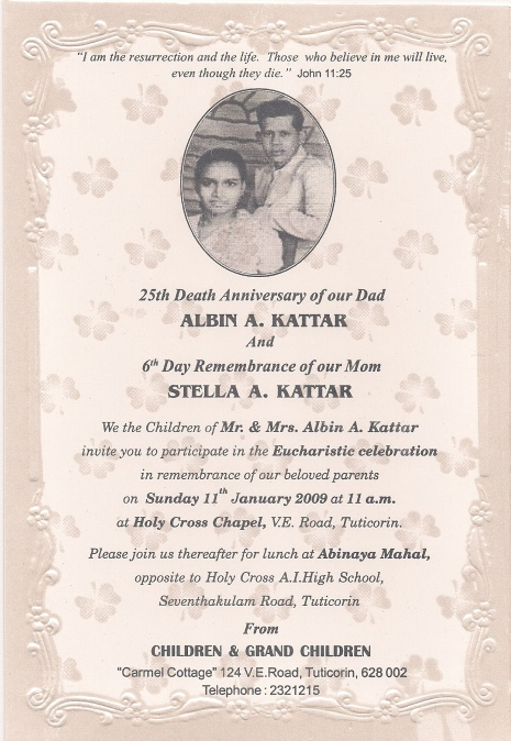 25th Death Anniversary and 6th Day Remembrance Mass